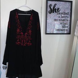 Boho black dress w/ red embroidered floral design